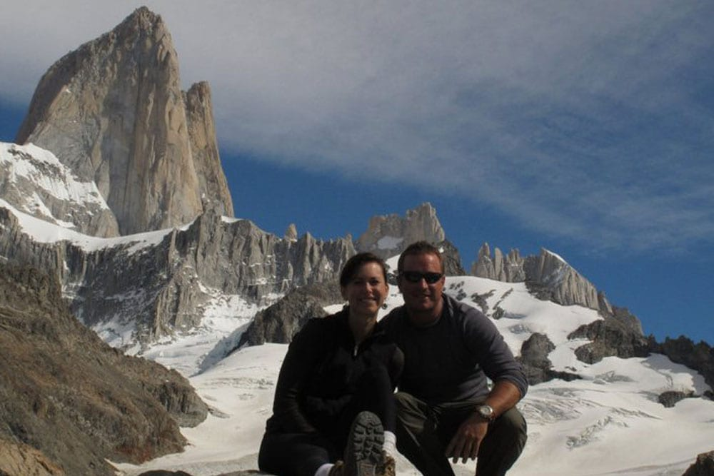 couple on ice mountain in Patagonia