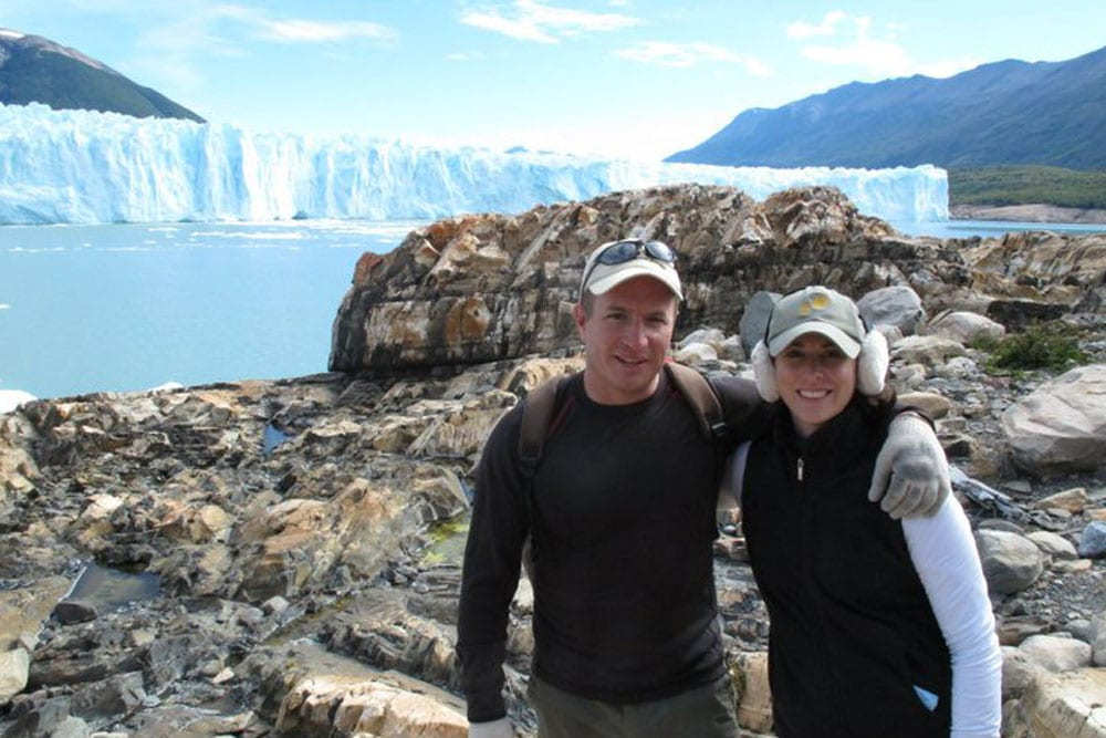 couple on ice mountain in Patagonia 2