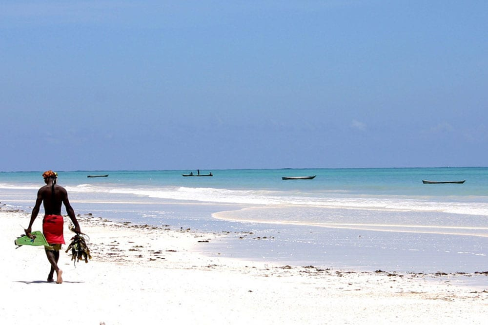 White sand beach in Kenya